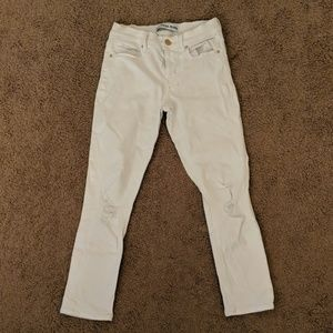 Express   Cropped Legging Mid-Rise White Jeans